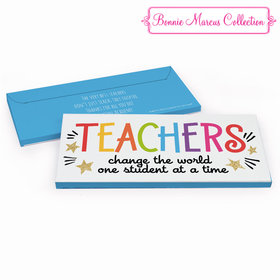 Deluxe Personalized Teacher Appreciation Gold Star Chocolate Bar in Gift Box