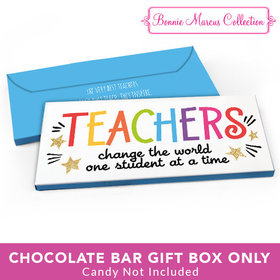 Deluxe Personalized Teacher Appreciation Gold Star Candy Bar Favor Box
