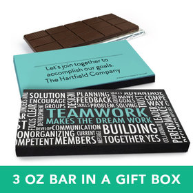 Deluxe Personalized Business Teamwork Word Cloud Belgian Chocolate Bar in Gift Box (3oz Bar)