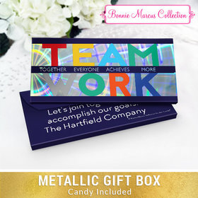 Deluxe Personalized Teamwork Acrostic Chocolate Bar in Metallic Gift Box