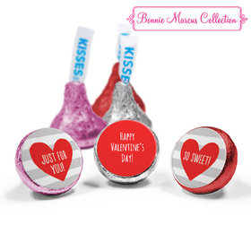 Personalized Valentine's Day Heart and Stripes Love Mix Hershey's Kisses Assembled (50 Pack)
