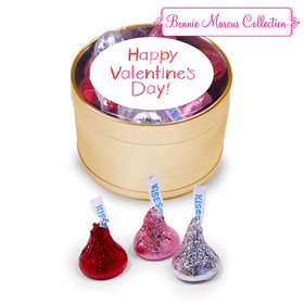 Happy Valentine's Day Gold Plastic Tin Hershey's Kisses Love Mix