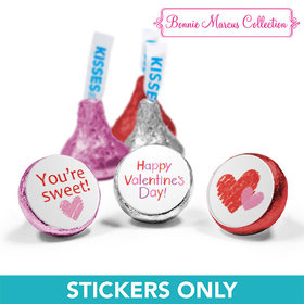 "Personalized Valentine's Day Red and Pink Hearts 3/4"" Stickers (108 Stickers)"