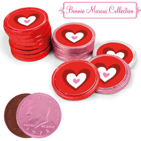 Valentine's Day Milk Chocolate Red, Pink and White Coins with Stickers (72 Pack)