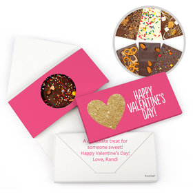 Personalized Bonnie Marcus Valentine's Day Glitter Hearts Gourmet Infused Belgian Chocolate Bars (3.5oz)