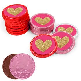 Bonnie Marcus Collection Valentine's Day Glitter Heart Milk Chocolate Red, Pink and White Coins with Stickers (72 Pack)