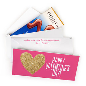Deluxe Personalized Bonnie Marcus Valentine's Day Glitter Heart Godiva Chocolate Bar in Gift Box
