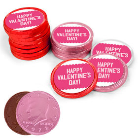 Bonnie Marcus Collection Valentine's Day Pattern Milk Chocolate Red, Pink and White Coins with Stickers (72 Pack)