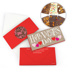 Personalized Bonnie Marcus Valentine's Day Cute Hearts Gourmet Infused Belgian Chocolate Bars (3.5oz)