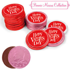 Bonnie Marcus Collection Valentine's Day Cute Heart Milk Chocolate Red, Pink and White Coins with Stickers (72 Pack)