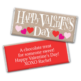 Bonnie Marcus Personalized Valentine's Day Cute Hearts Chocolate Bar Wrapper