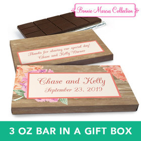 Deluxe Personalized Wedding Blooming Joy Chocolate Bar in Gift Box (3oz Bar)