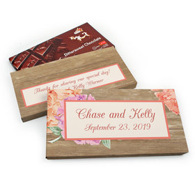 Deluxe Personalized Wedding Blooming Joy Chocolate Parve Bar in Gift Box (3.5oz Bar)