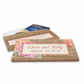 Deluxe Personalized Wedding Blooming Flowers Ghirardelli Peppermint Bark Bar in Gift Box (3.5oz)