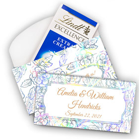 Deluxe Personalized Wedding Flowers Lindt Chocolate Bar in Metallic Gift Box