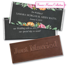 Personalized Bonnie Marcus Wedding Flowers in Chalk Embossed Chocolate Bar & Wrapper
