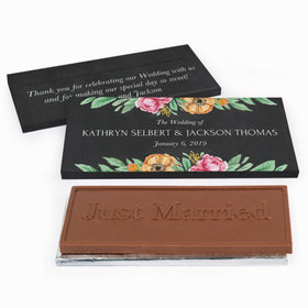 Deluxe Personalized Wedding Flowers Chocolate Bar in Gift Box
