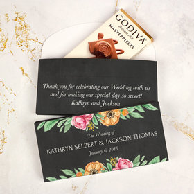 Deluxe Personalized Wedding Flowers Godiva Chocolate Bar in Gift Box