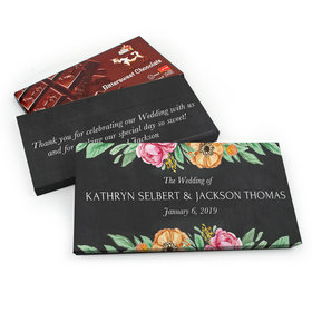 Deluxe Personalized Wedding Flowers Chocolate Parve Bar in Gift Box (3.5oz Bar)