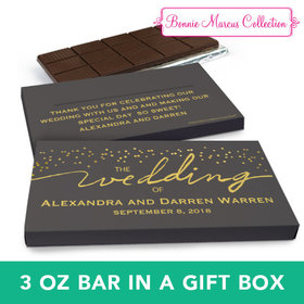 Deluxe Personalized Wedding Divine Gold Chocolate Bar in Gift Box (3oz Bar)