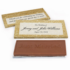 Deluxe Personalized Wedding Gold Sparkles Chocolate Bar in Gift Box