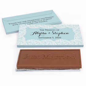 Deluxe Personalized Wedding Lace & Linen Chocolate Bar in Gift Box