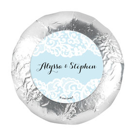 """Personalized Bonnie Marcus Wedding Lace Trim on Light Blue 1.25"""" Stickers (48 Stickers)"""