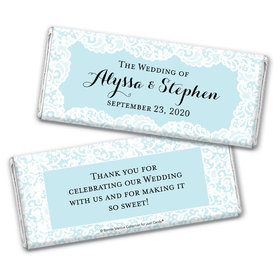 Personalized Bonnie Marcus Wedding Lace Trim on Light Blue Chocolate Bar Wrappers Only