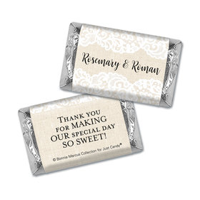 Personalized Bonnie Marcus Wedding Lace Trim on Burlap Mini Wrappers Only
