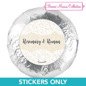 "Personalized Bonnie Marcus Wedding Lace Trim on Burlap 1.25"" Stickers (48 Stickers)"