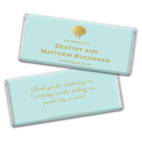 Personalized Bonnie Marcus Wedding Siren's Shell Chocolate Bar & Wrapper