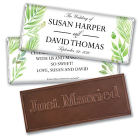Personalized Bonnie Marcus Wedding Wild Plants Embossed Chocolate Bar & Wrapper
