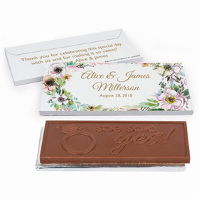 Deluxe Personalized Wedding Painted Flowers Chocolate Bar in Gift Box