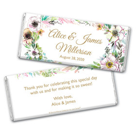Personalized Bonnie Marcus Wedding Painted Flowers Chocolate Bar & Wrapper