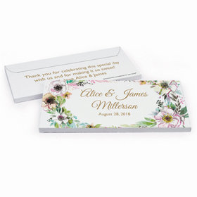 Deluxe Personalized Wedding Painted Flowers Hershey's Chocolate Bar in Gift Box