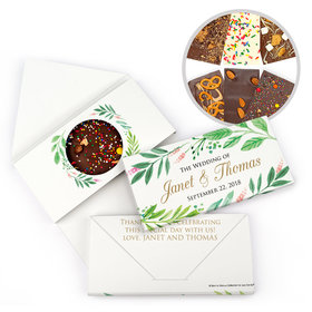 Personalized Bonnie Marcus Wedding Watercolor Plants Gourmet Infused Belgian Chocolate Bars (3.5oz)
