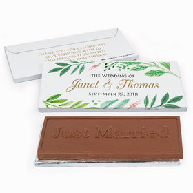 Deluxe Personalized Wedding Watercolor Plants Chocolate Bar in Gift Box
