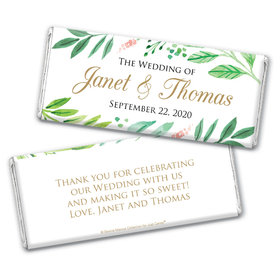 Personalized Bonnie Marcus Wedding Watercolor Plants Chocolate Bar & Wrapper
