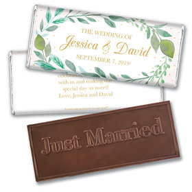 Personalized Bonnie Marcus Wedding Forever Foliage Embossed Chocolate Bar & Wrapper