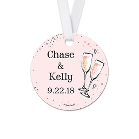 Personalized Bonnie Marcus Collection Round The Bubbly Wedding Favor Gift Tags (20 Pack)