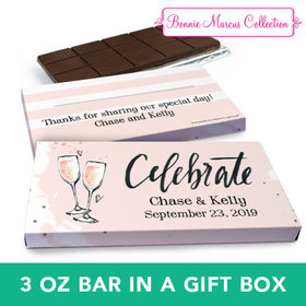 Deluxe Personalized Wedding Bubbly Chocolate Bar in Gift Box (3oz Bar)