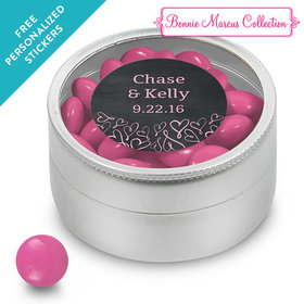 Bonnie Marcus Collection Personalized Small Round Tin Sweetheart Swirl Wedding Favor