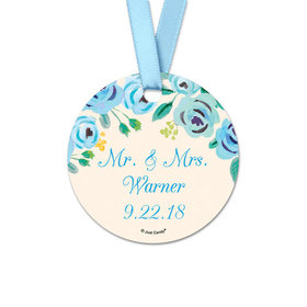 Personalized Bonnie Marcus Collection Round Blue Flowers Wedding Favor Gift Tags (20 Pack)