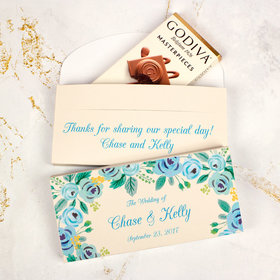 Deluxe Personalized Wedding Blue Flowers Godiva Chocolate Bar in Gift Box