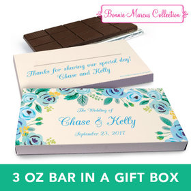 Deluxe Personalized Wedding Blue Flowers Chocolate Bar in Gift Box (3oz Bar)