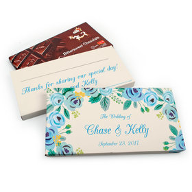 Deluxe Personalized Wedding Blue Flowers Chocolate Parve Bar in Gift Box (3.5oz Bar)