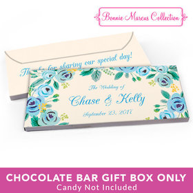 Deluxe Personalized Wedding Blue Flowers Candy Bar Cover