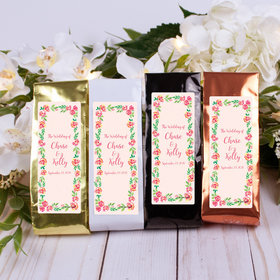 Personalized Wedding Columbian Coffee - Pink Flowers