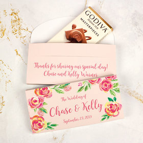Deluxe Personalized Wedding Pink Flowers Godiva Chocolate Bar in Gift Box
