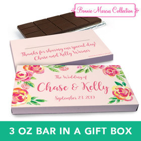 Deluxe Personalized Wedding Pink Flowers Chocolate Bar in Gift Box (3oz Bar)